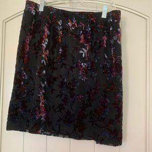 Loft black miniskirt pull-on velvet detail XL